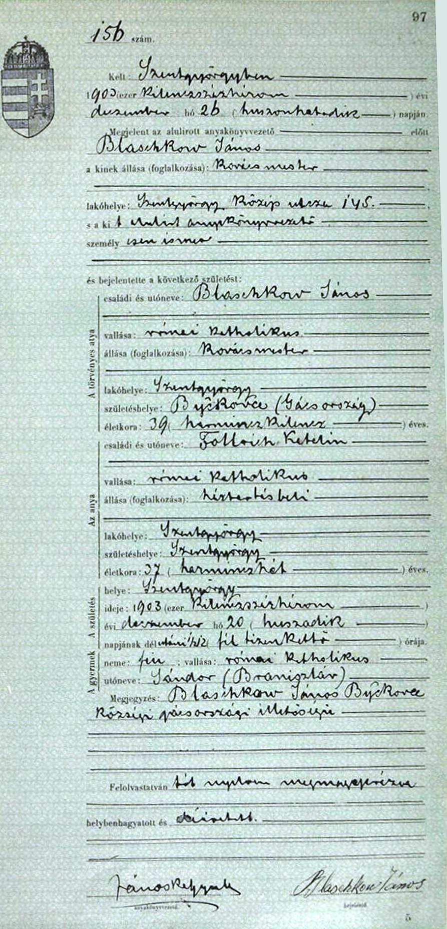 Blaschko wilson lineage the 1903 birth record of sandor aiddatafo Choice Image