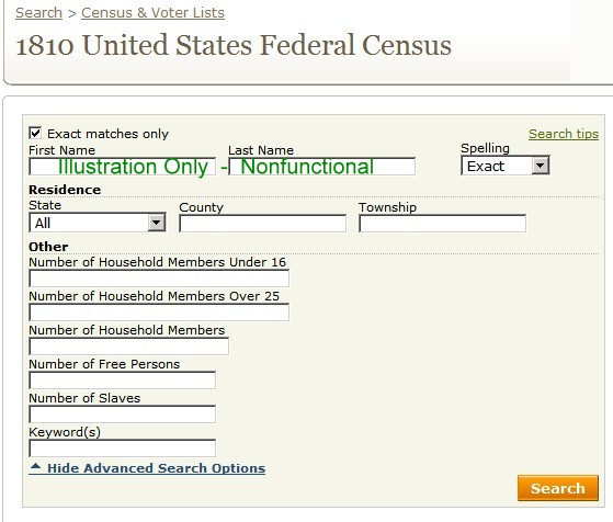 Searchscreens and fields for each federa census every 10 years